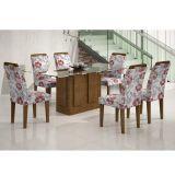 Conjunto de Mesa Amsterdã 180 e 6 Cadeiras de Jantar Athenas Ypê e Floral Primavera