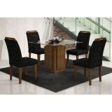 Conjunto de Mesa Amsterdã 90 e 4 Cadeiras de Jantar Athenas Ypê e Suedi Amarelo Preto