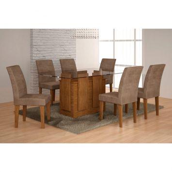 Conjunto de Mesa Amsterdã com 6 Cadeiras Grécia Ype Animalle Chocolate Rufato Amsterda
