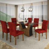 Conjunto de Mesa Barcelona 160 e 6 Cadeiras de Jantar Paraty Ypê com Ébano e Floral Vinho