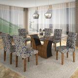 Conjunto de Mesa Barcelona 160 e 6 Cadeiras de Jantar Paraty Ypê com Ébano e Imperial Azul A