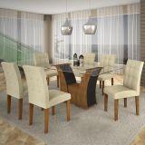 Conjunto de Mesa Barcelona 160 e 6 Cadeiras de Jantar Paraty Ypê com Ébano e Matelasse