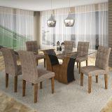 Conjunto de Mesa Barcelona 160 e 6 Cadeiras de Jantar Paraty Ypê com Ébano e Suedi Amarelo Chocolate