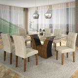 Conjunto de Mesa Barcelona 160 e 6 Cadeiras de Jantar Paraty Ypê com Ébano e Suedi Creme