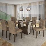 Conjunto de Mesa Barcelona 180 e 6 Cadeiras de Jantar Paraty Wengue com Carvalho e Animalle Chocolate