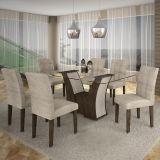 Conjunto de Mesa Barcelona 180 e 6 Cadeiras de Jantar Paraty Wengue com Carvalho e Bege Rústico