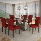 Conjunto de Mesa Barcelona 180 e 6 Cadeiras de Jantar Paraty Wengue com Carvalho e Floral Vinho