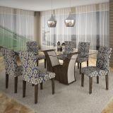 Conjunto de Mesa Barcelona 180 e 6 Cadeiras de Jantar Paraty Wengue com Carvalho e Imperial Azul A