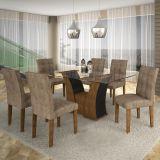 Conjunto de Mesa Barcelona 180 e 6 Cadeiras de Jantar Paraty Ypê com Ébano e Animalle Chocolate