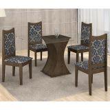 Conjunto de Mesa Itália 120 e 4 Cadeiras de Jantar Diamante Wengue com Carvalho e Imperial Azul A