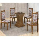 Conjunto de Mesa Itália 120 e 4 Cadeiras de Jantar Diamante Ypê com Ébano e Floral Primavera