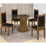 Conjunto de Mesa Itália 120 e 4 Cadeiras de Jantar Diamante Ypê com Ébano e Imperial Preto