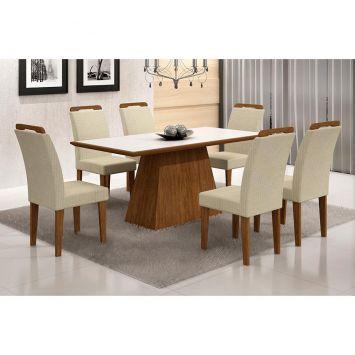 Conjunto de Mesa Luna com 6 Cadeiras Athenas Ype Branco Com Matelasse Rufato Luna