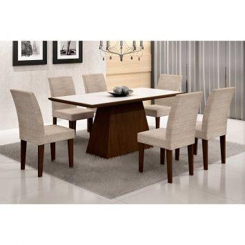 Conjunto de Mesa Luna com 6 Cadeiras Grécia Castor Branco Com Bege Rústico Rufato Luna