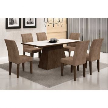 Conjunto de Mesa Luna com 6 Cadeiras Grécia Wengue Branco Com Animalle Chocolate Rufato Luna