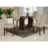 Conjunto de Mesa Monalisa 120 e 4 Cadeiras de Jantar Viena Wengue e Bege Rústico