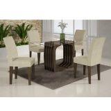 Conjunto de Mesa Monalisa 120 e 4 Cadeiras de Jantar Viena Wengue e Matelasse