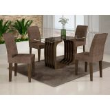 Conjunto de Mesa Monalisa 120 e 4 Cadeiras de Jantar Viena Wengue e Suedi Amarelo com Chocolate