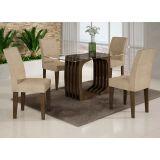 Conjunto de Mesa Monalisa 120 e 4 Cadeiras de Jantar Viena Wengue e Suedi Creme