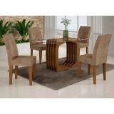 Conjunto de Mesa Monalisa 120 e 4 Cadeiras de Jantar Viena Ypê e Animalle Chocolate