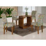 Conjunto de Mesa Monalisa 120 e 4 Cadeiras de Jantar Viena Ypê e Suedi Medalhão