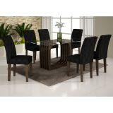 Conjunto de Mesa Monalisa 160 e 6 Cadeiras de Jantar Viena Wengue e Imperial Preto
