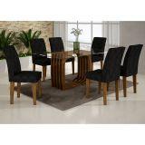 Conjunto de Mesa Monalisa 180 e 6 Cadeiras de Jantar Viena Ypê e Imperial Preto
