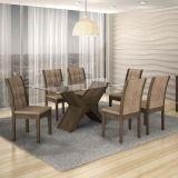 Conjunto de Mesa Tarsila 180 e 6 Cadeiras de Jantar Laguna Wengue e Animalle Chocolate