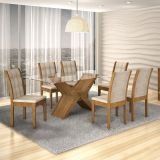 Conjunto de Mesa Tarsila 180 e 6 Cadeiras de Jantar Laguna Ypê e Bege Rústico