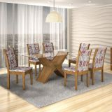 Conjunto de Mesa Tarsila 180 e 6 Cadeiras de Jantar Laguna Ypê e Floral Primavera