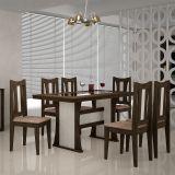 Conjunto de Mesa Viva 160 Com 3 Kits Cadeiras Viva Wengue Com Carvalho e Suedi Amarelo Chocolate