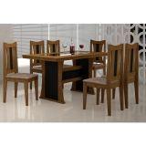 Conjunto de Mesa e 6 Cadeiras de Jantar Viva Ypê com Ébano e Animalle Chocolate