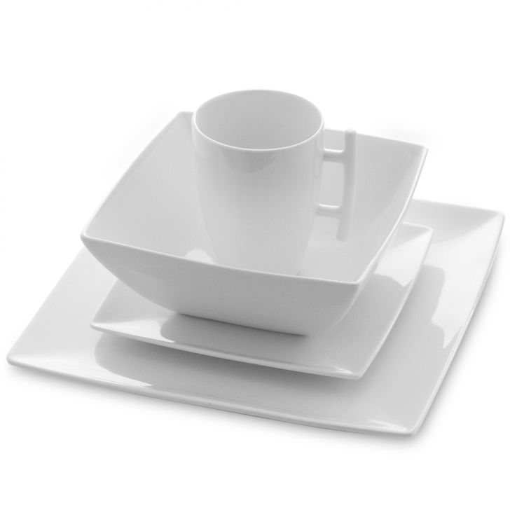 Jogo de Jantar Quadrado Whyte Porcelana 16 pçs