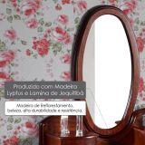 Moldura Taranto Oval com Espelho - Acabamento Verniz Poliuretano - Madeira Lyptus/ Lâmina de Jequitibá - Castanho