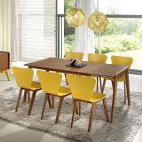 Sala de Jantar Primer com Mesa Extensível de 120cm/ 160cm e 6 Cadeiras - Madeira Lyptus/Jequitiba - Sunset/ Amarelo