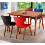 Sala de Jantar Primer com Mesa de 120cm e 4 cadeiras - Madeira Lyptus/Lâmina de Jequitibá – Sunset/Azul/Vermelho/Preto