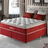 Cama Box Queen (Colchão+Box) Vermelho Molas Pocket Pilow In 1,58x1,98 Serflex 007 - Serpil