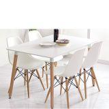 Conjunto Mesa Eames 1,20m e 4 Cadeiras Eiffel DSW sem Braço Branca