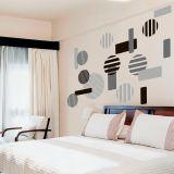 Adesivo Decorativo de Parede Abstrato e Geométrico - FLASH BACK 244x170 cm Preto, Cinza Claro e Cinza Escuro AB015-292728