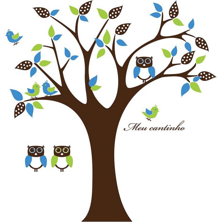 Adesivo Decorativo de Parede Floral - ILUMINADA MENINO 197x210 cm Marrom, Verde Claro e Azul Claro FL058-262115
