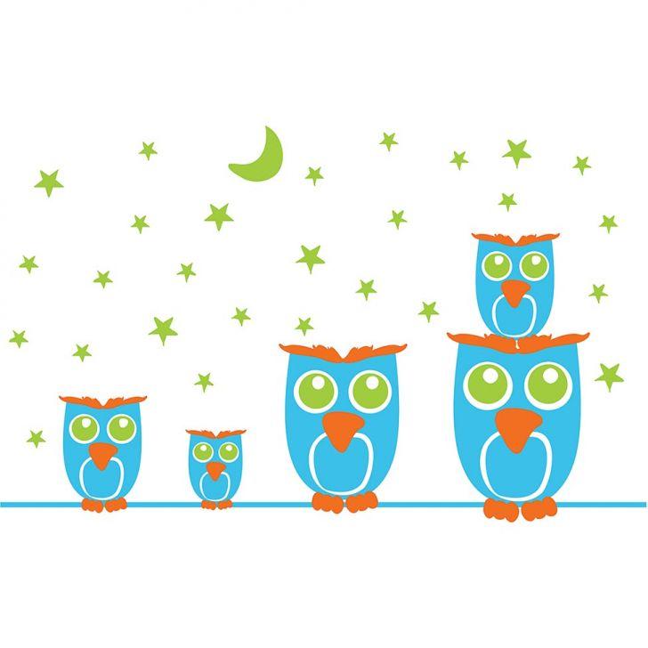 Adesivo Decorativo de Parede Infantil - NOITE FELIZ 114 x 70 cm Azul Claro, Laranja e Verde Claro KI029-150621