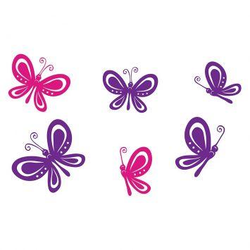 Adesivo Decorativo de Parede Tema Bichos e Animais - BUTTERFLIES 80x55 cm Pink e Roxo BI006 - 1114 Stixx Adesivo Decorativo de Parede Tema Bichos e Animais - BUTTERFLIES