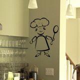 Adesivo Decorativo de Parede para Cozinha - CHEF 55x78 cm Preto KIT002-29