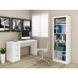 Conjunto Home Office Escrivaninha e Armário Tecno Mobili - Branco