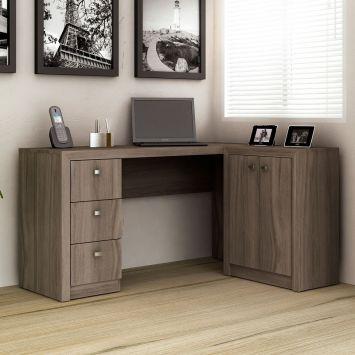 Mesa de escrit rio com balc o tecno mobili carvalho - Mesa para escritorio ...