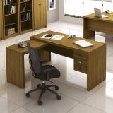 Mesa de Escritório em L com Gavetas Tecno Mobili - Amêndoa