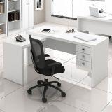 Mesa de Escritório em L com Gavetas Tecno Mobili - Branco