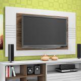 Painel Para TV Home Friz Branco e Amêndoa