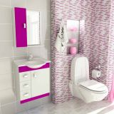 Conjunto Gabinete Pratiko 60 cm 2 Portas 3 Gavetas Branco & Violeta