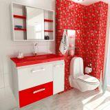 Conjunto Gabinete Vetro 80 cm 2 Portas 1 Gaveta Branco & Vermelho